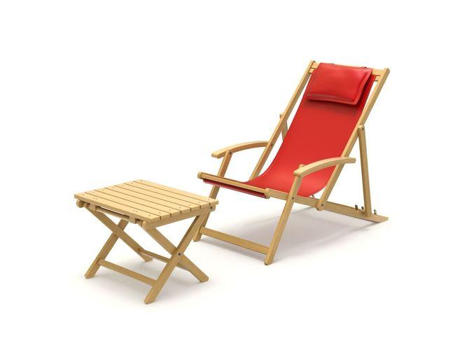 deck chair with side table 3d model obj mtl fbx blend 1