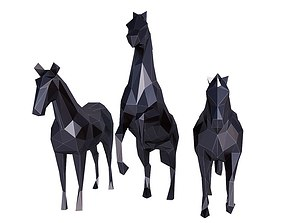 Horse Low Poly Set 3D asset