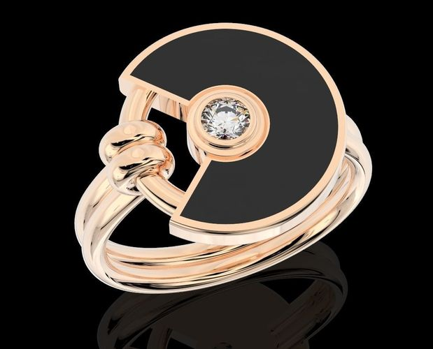 stylish ring with enamel and stone 360 3d model stl 3dm 1