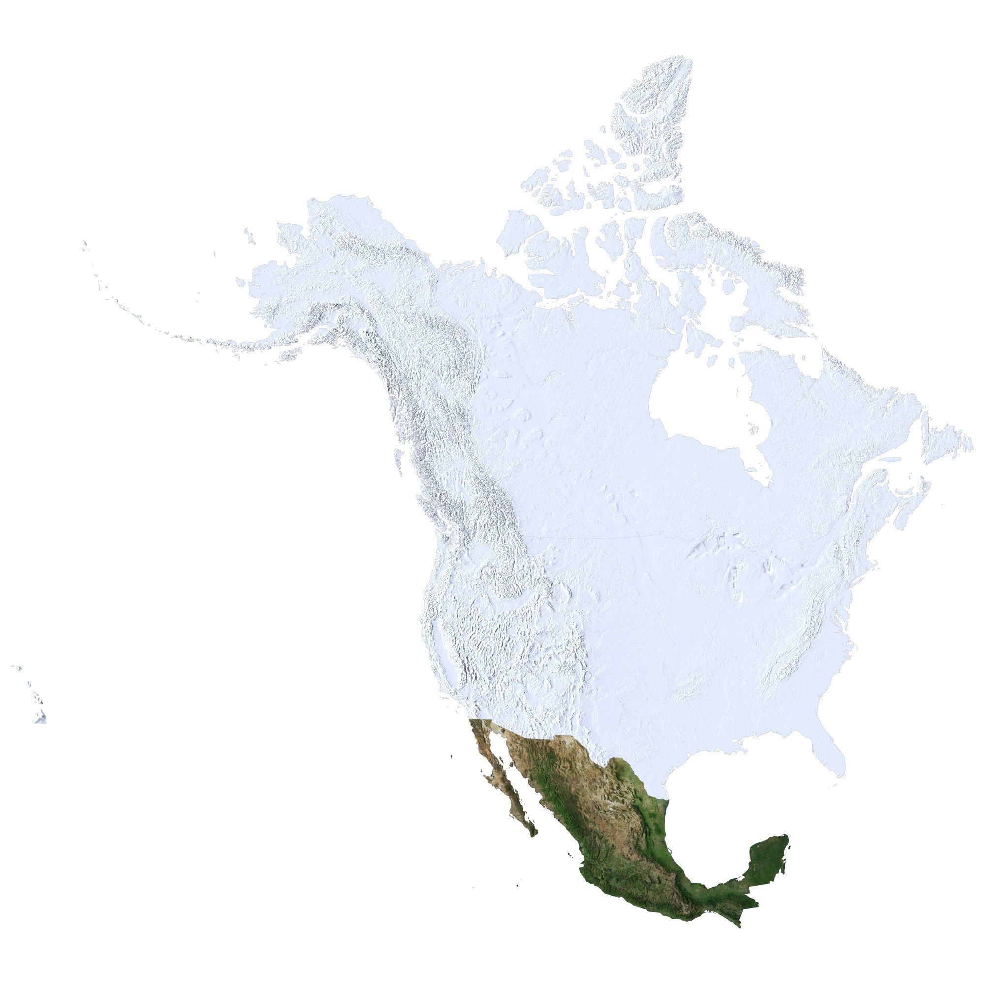 high detailed relief map of usa canada