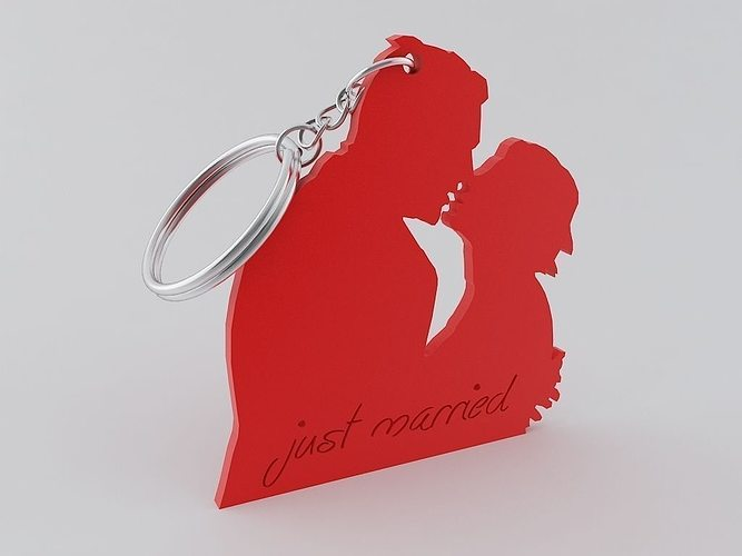 just married keychain 3d model stl 1