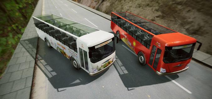 city tour bus 3d model low-poly fbx unitypackage prefab mat uasset 1