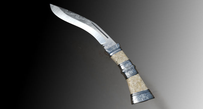 kukri bhojpuri knife 3d model max obj mtl fbx blend 1