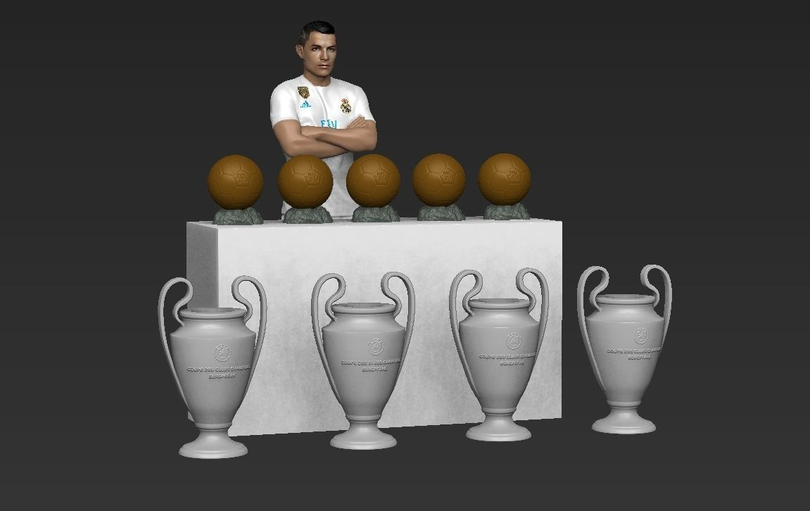 Cristiano Ronaldo with Throphies for full color 3D printing