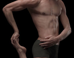 hyper realistic human male ballet dancer stretching 3d