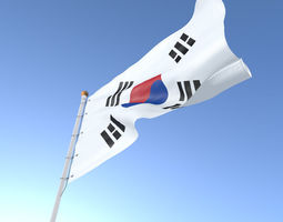 3D Flag South Korea animated
