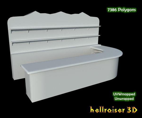 bar counter 3d model low-poly obj mtl fbx 1