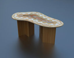 Marble table and laminated bamboo 3D Model