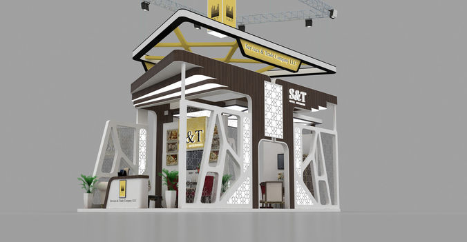 4x8 meter exhibition stand 3d model max 1