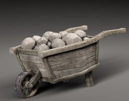 3D asset Old cart and stones