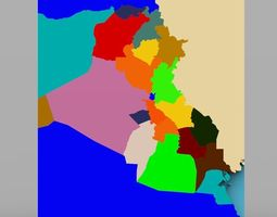 Iraq With Regions Map in 3ds and obj format