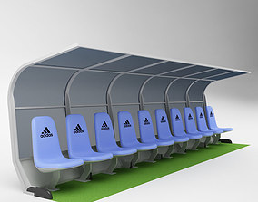 Soccer Bench for Coach Reserve Players 01 3D