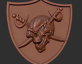 3D printable model Skull with swords on a shield