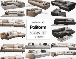 3D model Poliform 12 sofas set