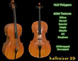 Cello Violin - Textured 3D asset