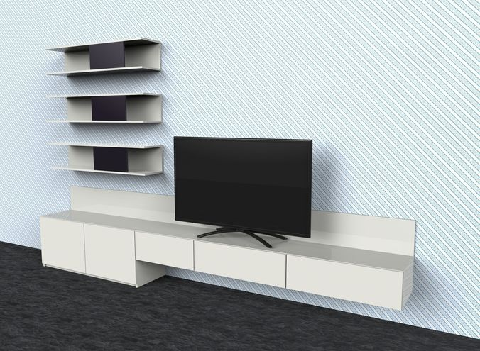 tv stand free 3d model max 3ds skp ige igs iges. Black Bedroom Furniture Sets. Home Design Ideas