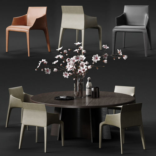 poliform seattle armchair and kensington table 3d model max obj mtl fbx 1