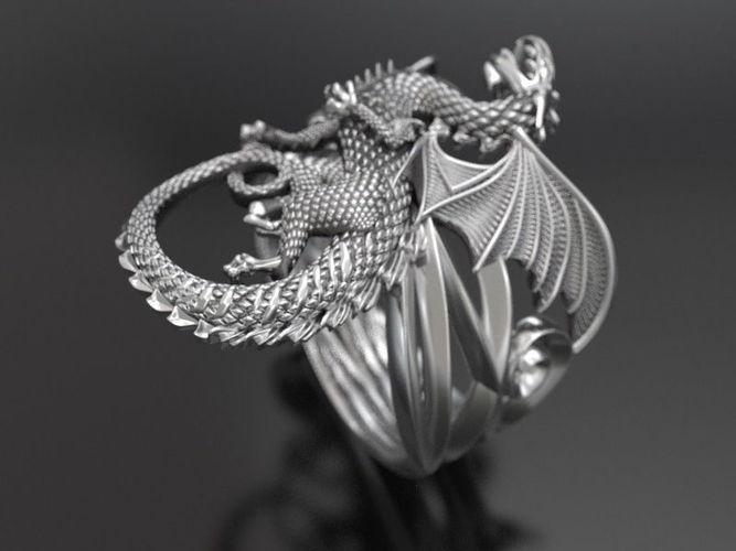 whitby-wyrm dragon ring  3d model stl 1