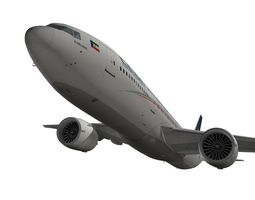 animated boeing 777-200lr ceiba intercontinental airlines 3d model