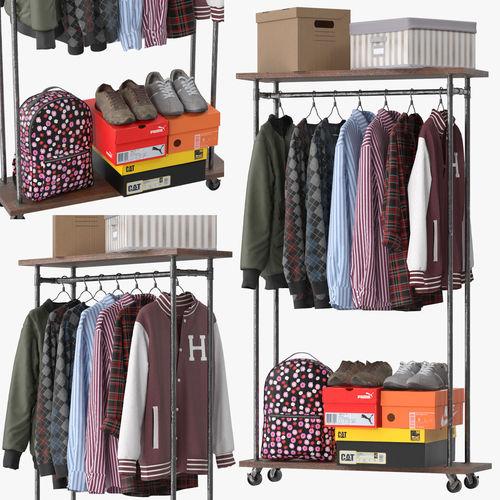 industrial clothes rail rack 02 3d model max obj mtl fbx 1