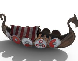 Viking Ship Drakkar PBR Low Poly 3D asset
