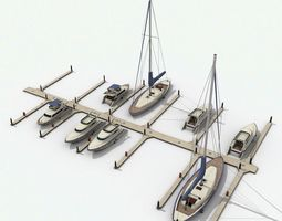 Piers and yachts 3D asset