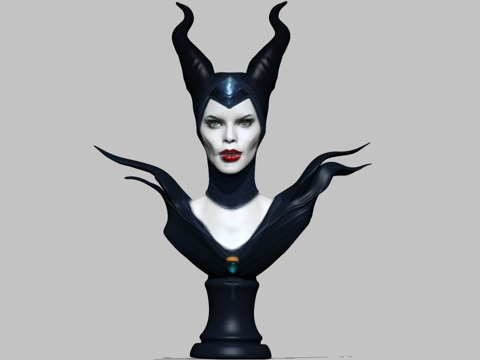 Maleficent Bust Sculpture 3d Model 3d Printable Stl Wrl