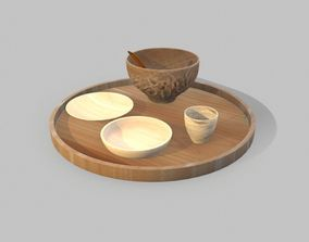 3D model Stylish Wooden Trays
