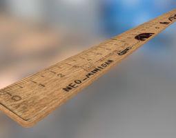 3D asset School wood ruler