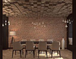 Dining area 3D model elegant