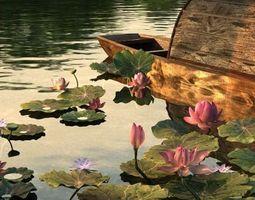 3D Pond Scene with Waterlillies