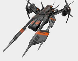 space Spaceship 3D model low-poly