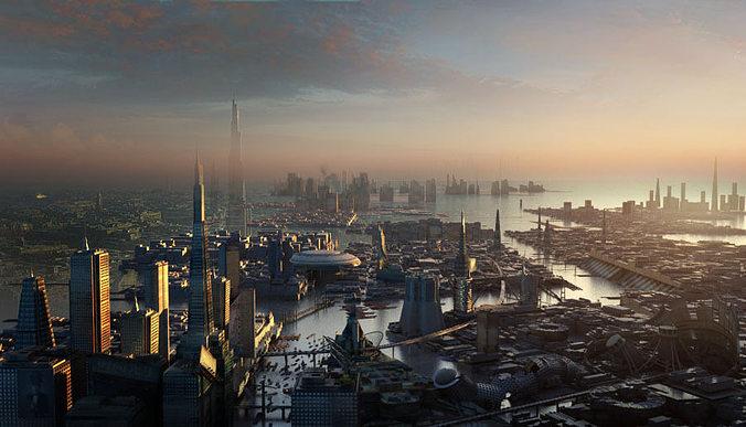 sci fi city 3d model max obj fbx mtl 1