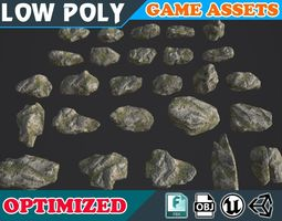 3D model Low poly Realistic Mossy Rock Pack 10A