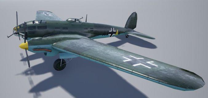 heinkel 111 3d model low-poly obj mtl 3ds fbx blend 1