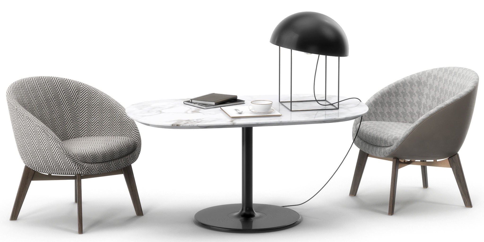 Minotti Russel Chair Oliver Table 3D Model 3D Model Max