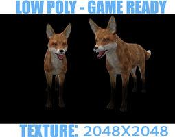 low-poly 3d model PBR fox lowpoy