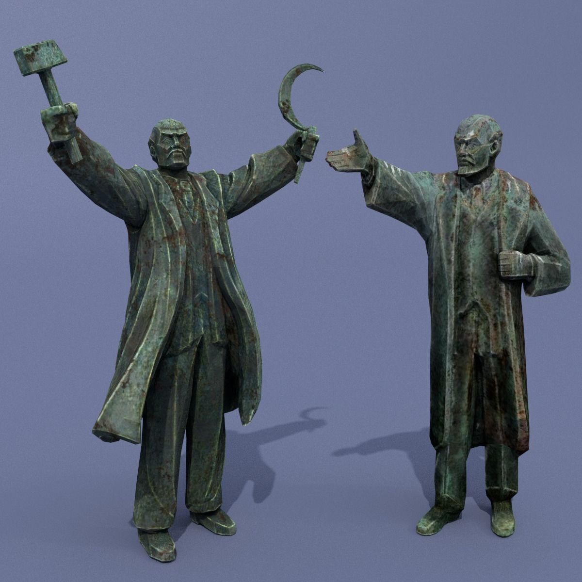 Two monuments of Lenin