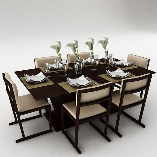 Dining table set 3d model fbx cgtrader for Dining table latest model