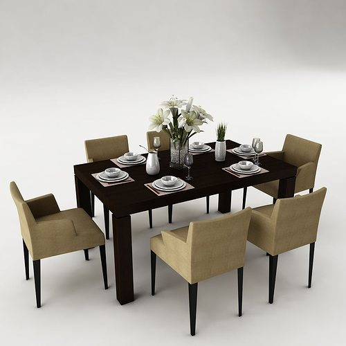 3d model dining table set dinning cgtrader for Dining room table 3ds max
