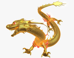 chinese golden dragon animated 3d