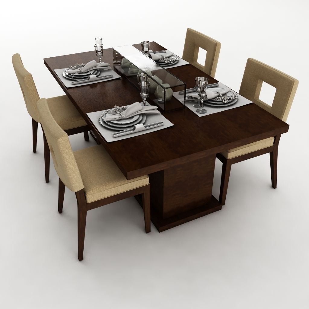 Dining table set 23 3d model max obj 3ds fbx mtl for Dining table latest model