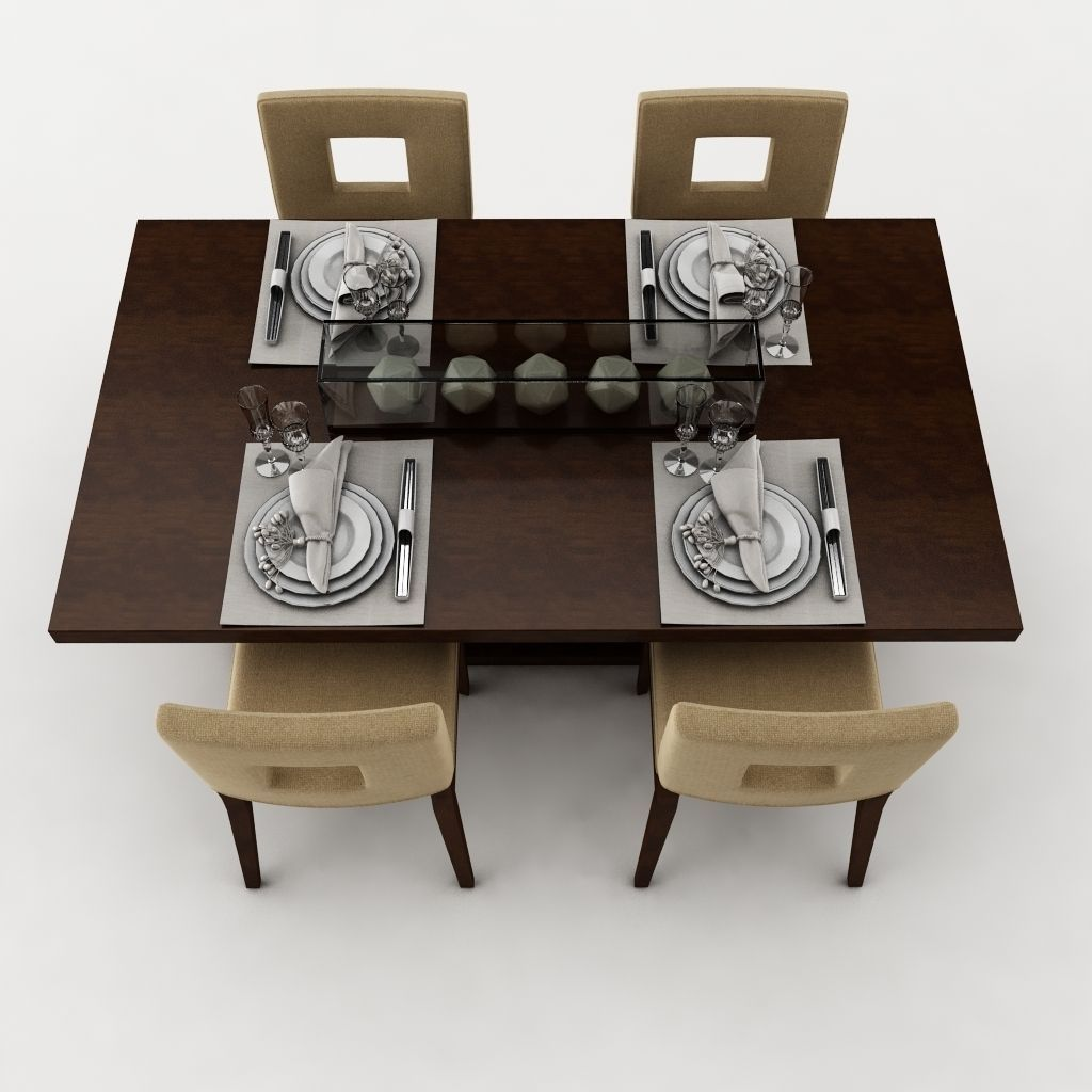 Dining table set 23 3d model max obj 3ds fbx mtl for Dining room table 3ds max
