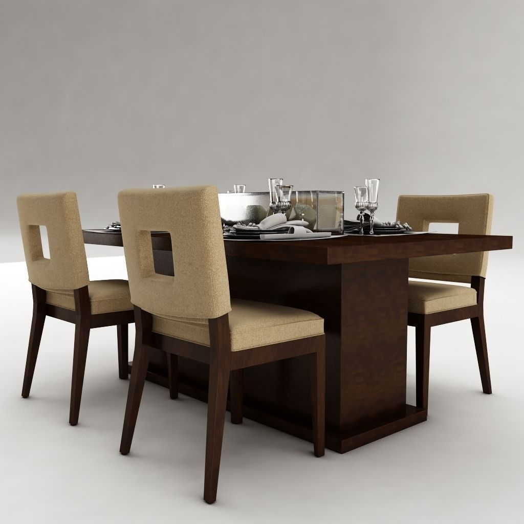 Dining table set 23 3d model max obj 3ds fbx for Dining table latest model