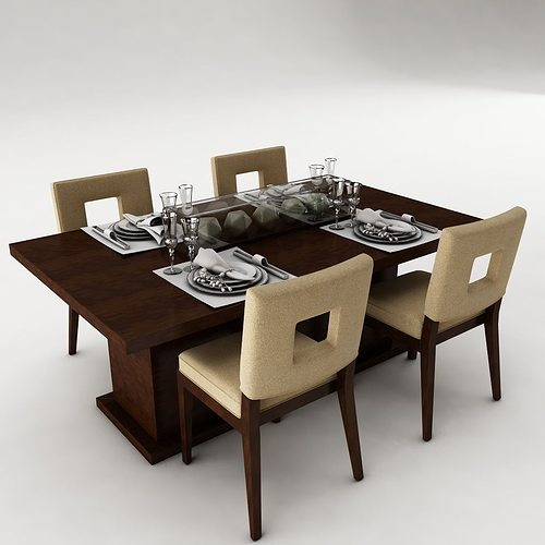3d model dining table set architectural cgtrader for Dining table latest model