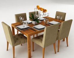 Surprising Dining Table Set 3D Model Cgtrader Download Free Architecture Designs Remcamadebymaigaardcom