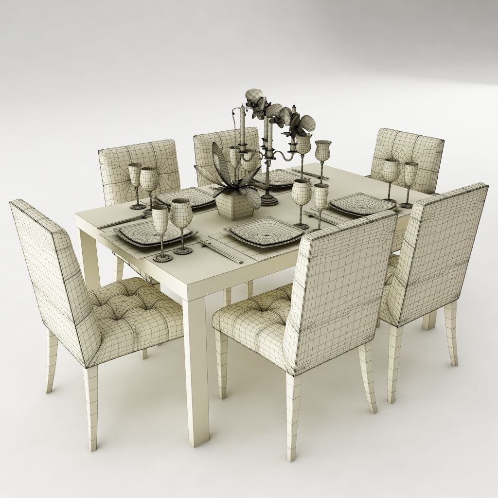 Dining table set 24 3d model max obj 3ds fbx for New model dining table