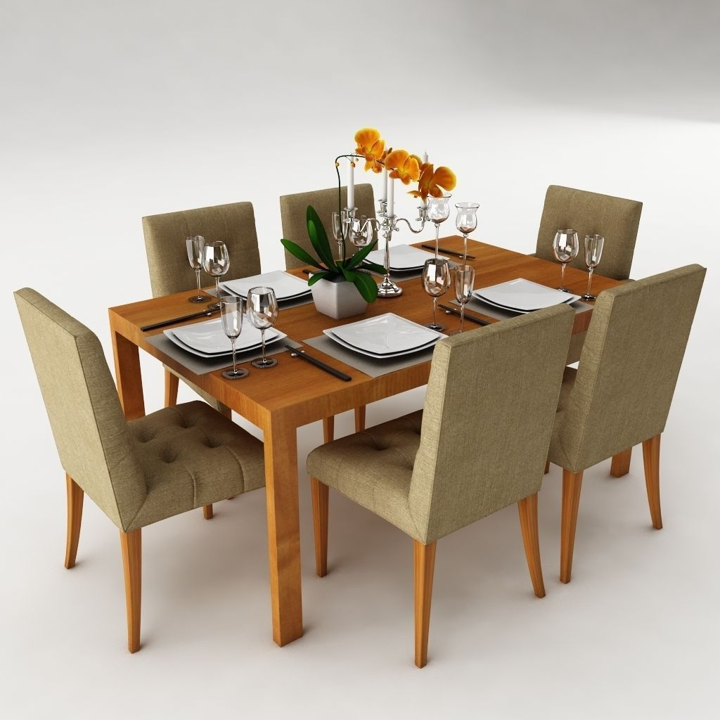 Dining table set 24 3d model max obj 3ds fbx for Dining table models