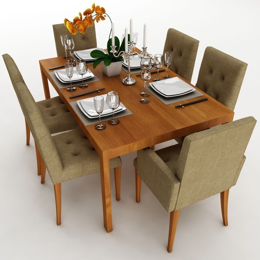 Dining table set 24 3d model max obj 3ds fbx for Dining table latest model