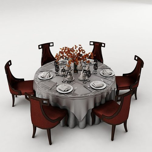 3d model dinning table dining table set cgtrader for Dining room table 3ds max